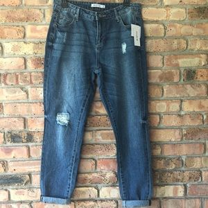 JustFab Destroyed Slim Boyfriend Jeans